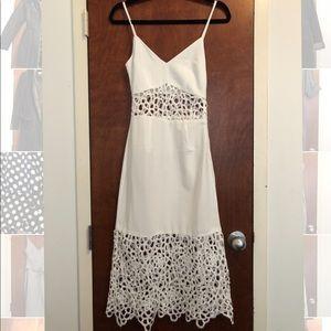 White cut out midi body con dress
